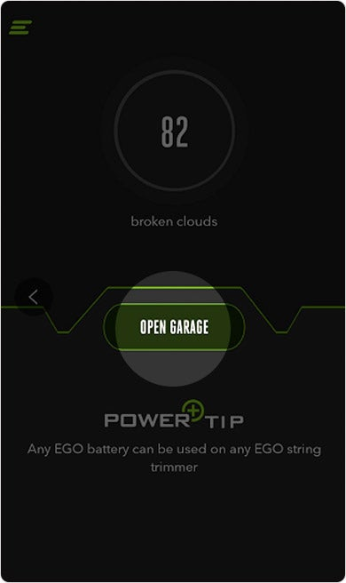The EGO Power+ app's homescreen with Open Garage button highlighted