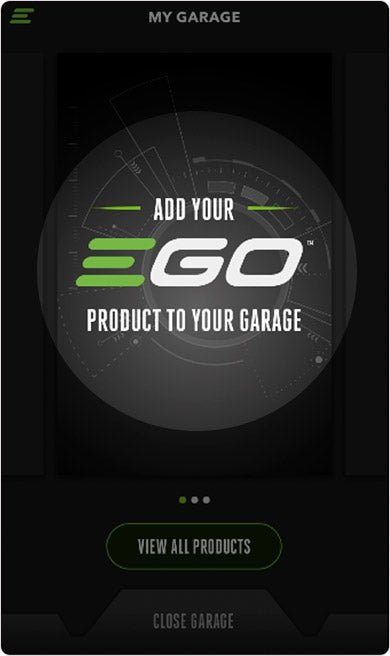 The EGO Power+ app's Virtual Garage screen highlighting where to tap to add your EGO products to your Garage